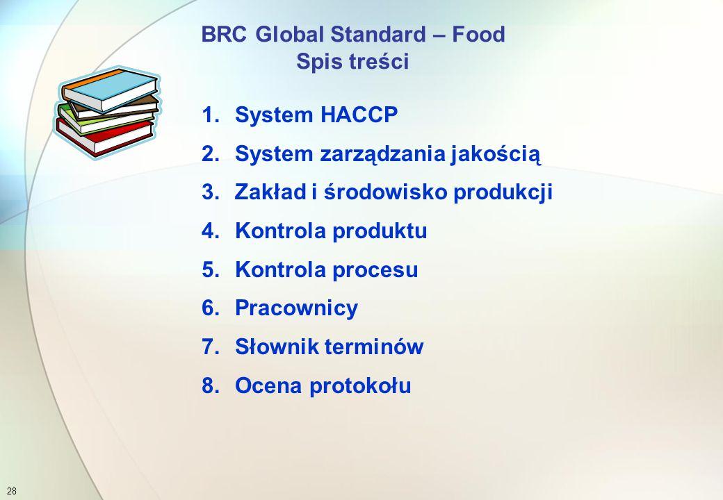 Obecnie rodzina standardów BRC obejmuje następujące normy:  BRC Global Standard - Food, wyd.