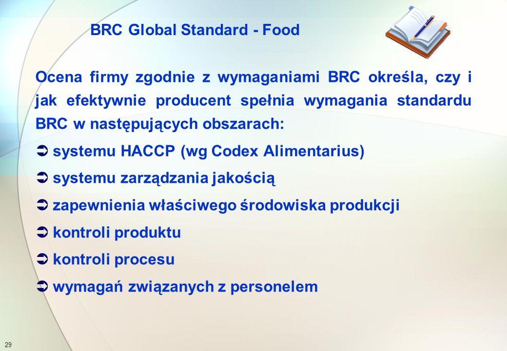 1.System HACCP 2.System zarządzania jakością 3.Zakład i środowisko produkcji 4.Kontrola produktu 5.Kontrola procesu 6.Pracownicy 7.Słownik terminów 8.Ocena protokołu 28 BRC Global Standard – Food Spis treści