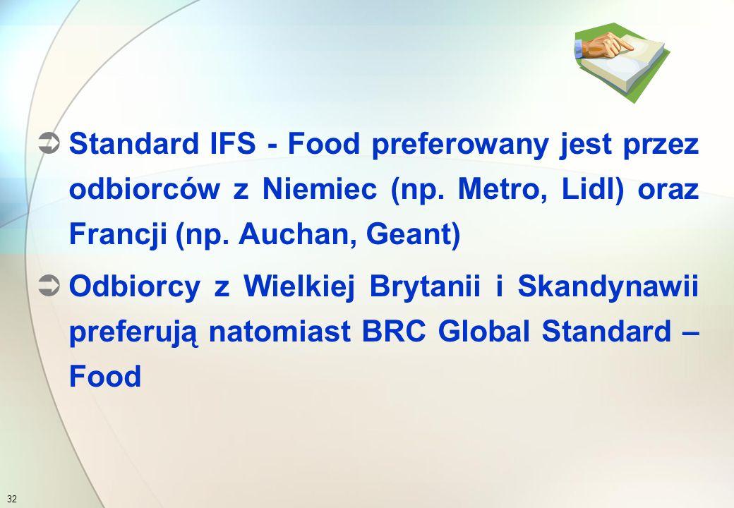 Obecnie rodzina standardów IFS obejmuje następujące normy:  IFS – Food (wydanie 5, 2007)  IFS – Logistic (wydanie 1, 2006) International Food Standard 31