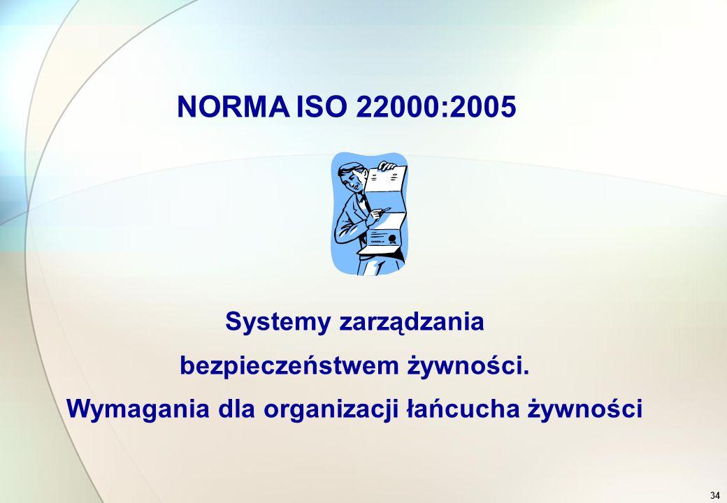 1.Odpowiedzialność najwyższego kierownictwa (polityka, struktura, ukierunkowanie na klienta, przegląd zarządzania) 2.System zarządzania jakością i system HACCP w oparciu o Codex Alimentarius (Zespół HACCP, Analiza HACCP, wymagania dotyczące dokumentacji) 3.Zarządzanie zasobami 4.Proces produkcyjny 5.Pomiary, analiza i doskonalenie (audity wewnętrzne, kontrola procesów produkcji, wzorcowanie urządzeń kontrolno-pomiarowych, kontrola ilości, analiza produktu, kwarantanna i zwalnianie produktu, postępowanie w przypadku sytuacji awaryjnych, zwrotu i wycofania wyrobu, postępowanie z wyrobami niezgodnymi, działania korygujące 33 International Food Standard