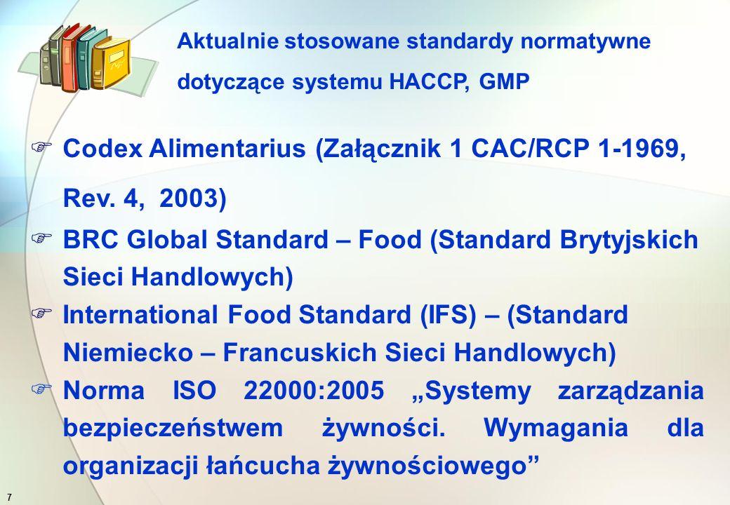 6 Dokumenty normatywne dotyczące systemu HACCP i GMP  spełniają role pomocniczą  i są podstawą do certyfikacji