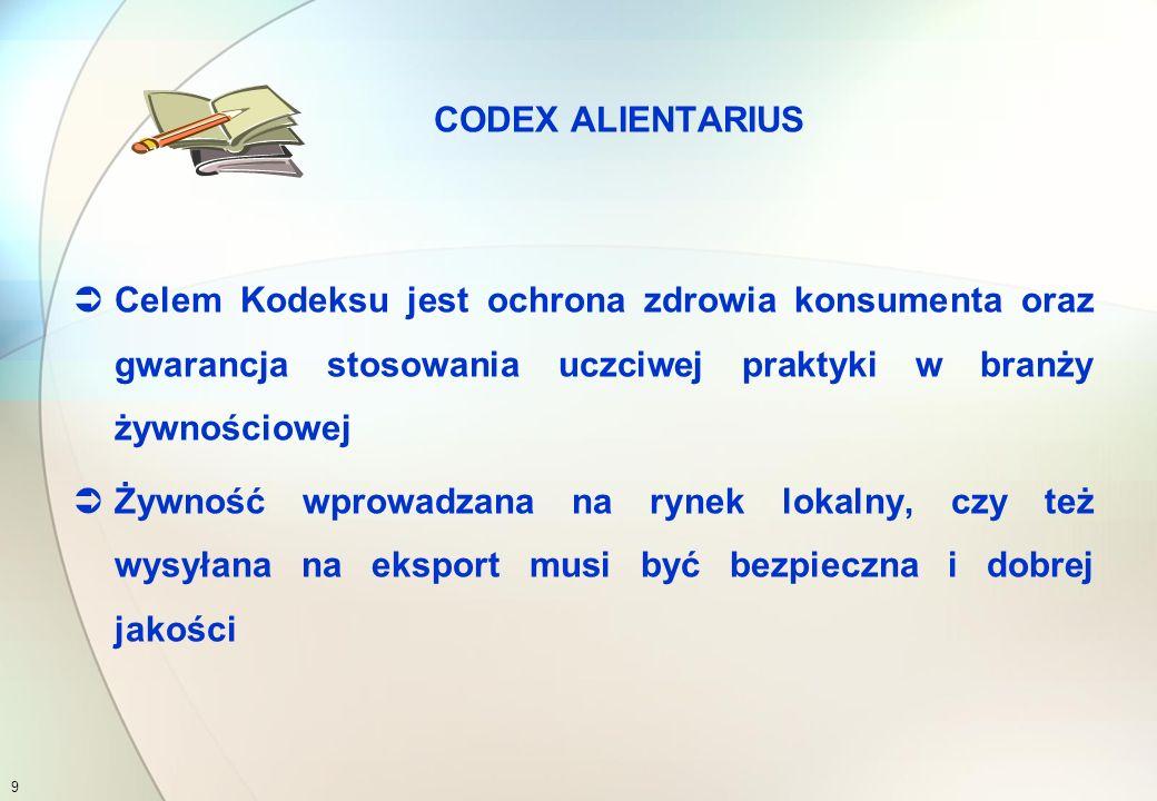 Codex Alimentarius, czyli Kodeks Żywnościowy (dosłowne tłumaczenie z języka łacińskiego - kod żywienia) oznacza szereg:  zarówno ogólnych  jak i szczegółowych standardów zapewniania bezpieczeństwa żywności CODEX ALIENTARIUS 8
