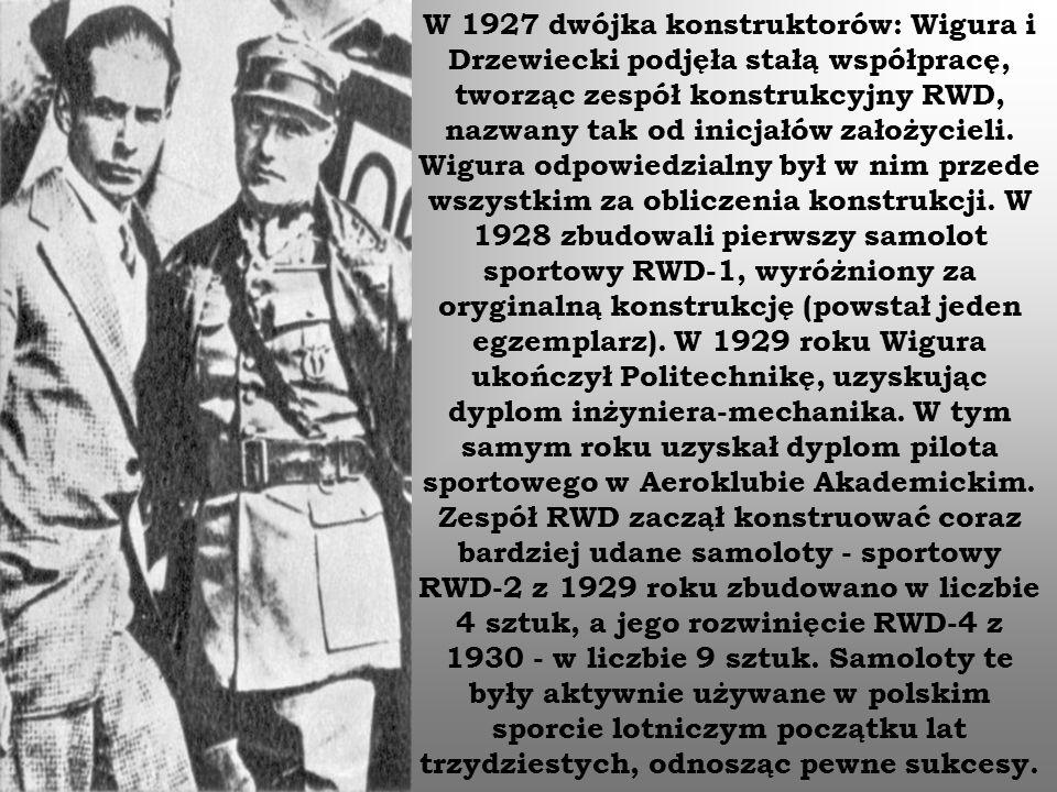 W 1927 dwójka konstruktorów: Wigura i Drzewiecki podjęła stałą współpracę, tworząc zespół konstrukcyjny RWD, nazwany tak od inicjałów założycieli. Wig