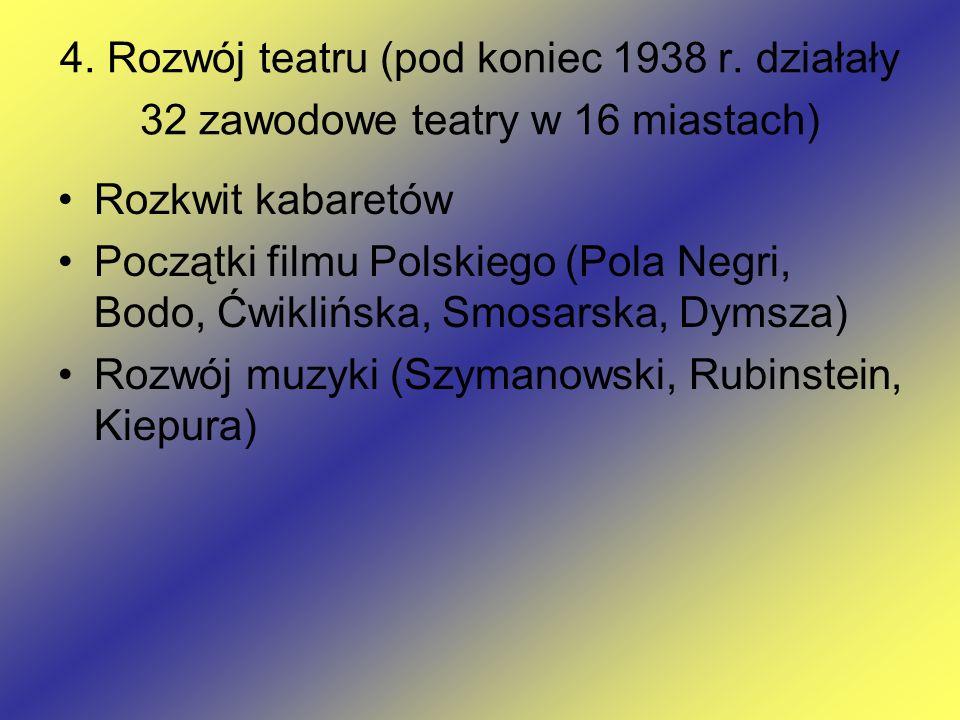 4. Rozwój teatru (pod koniec 1938 r. działały 32 zawodowe teatry w 16 miastach) Rozkwit kabaretów Początki filmu Polskiego (Pola Negri, Bodo, Ćwiklińs