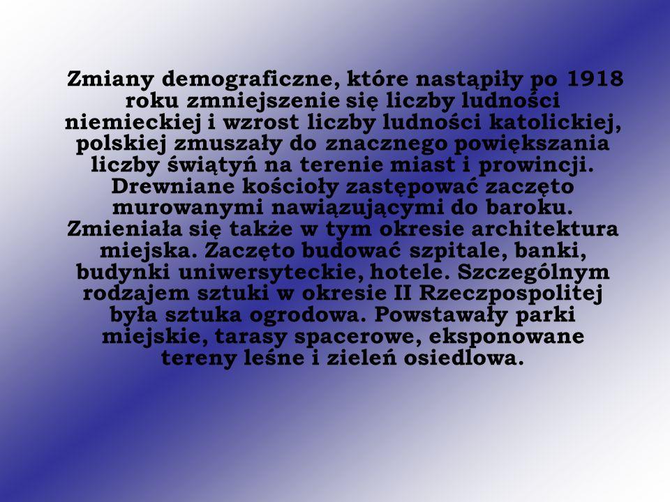 Zmiany demograficzne, które nastąpiły po 1918 roku zmniejszenie się liczby ludności niemieckiej i wzrost liczby ludności katolickiej, polskiej zmuszał
