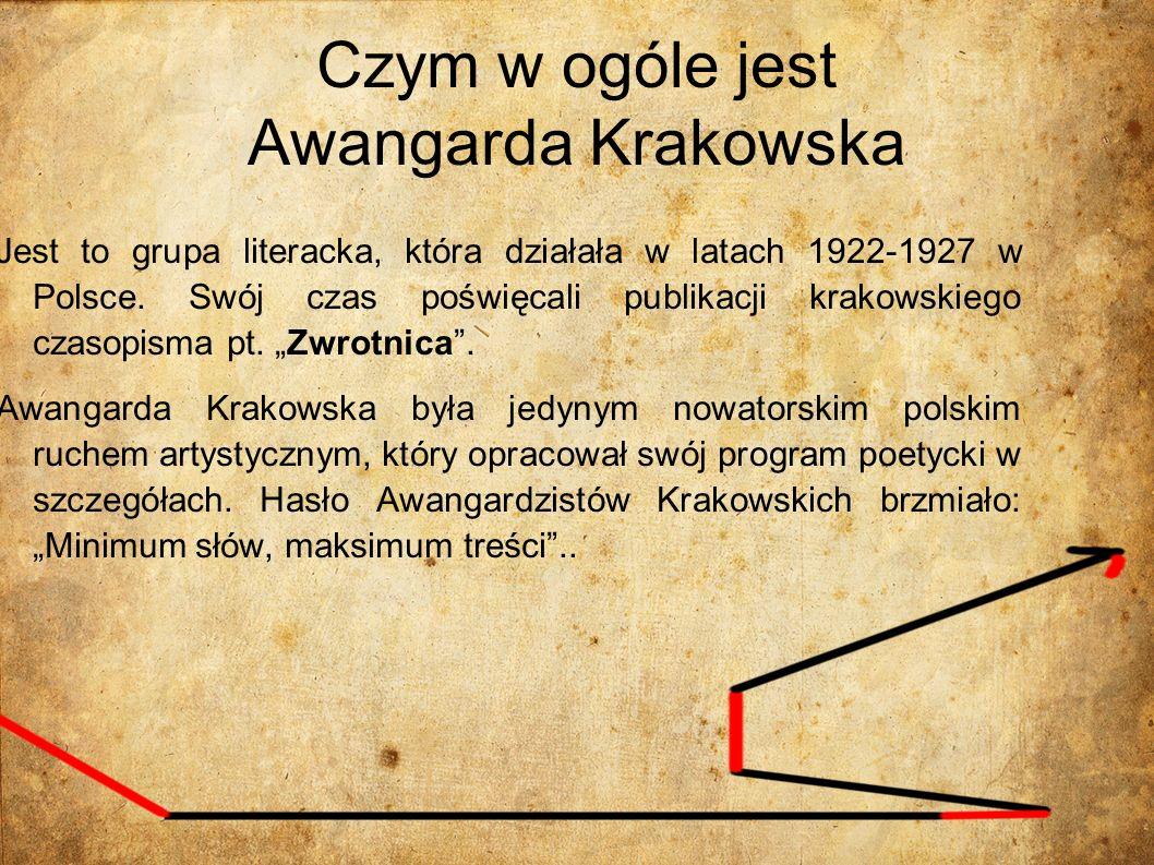 Czym w ogóle jest Awangarda Krakowska Jest to grupa literacka, która działała w latach 1922-1927 w Polsce. Swój czas poświęcali publikacji krakowskieg