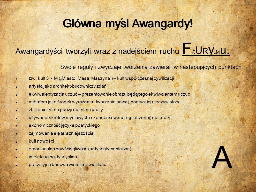 Główni przedstawiciele Awangardy Krakowskiej: Tadeusz Peiper: Ur.
