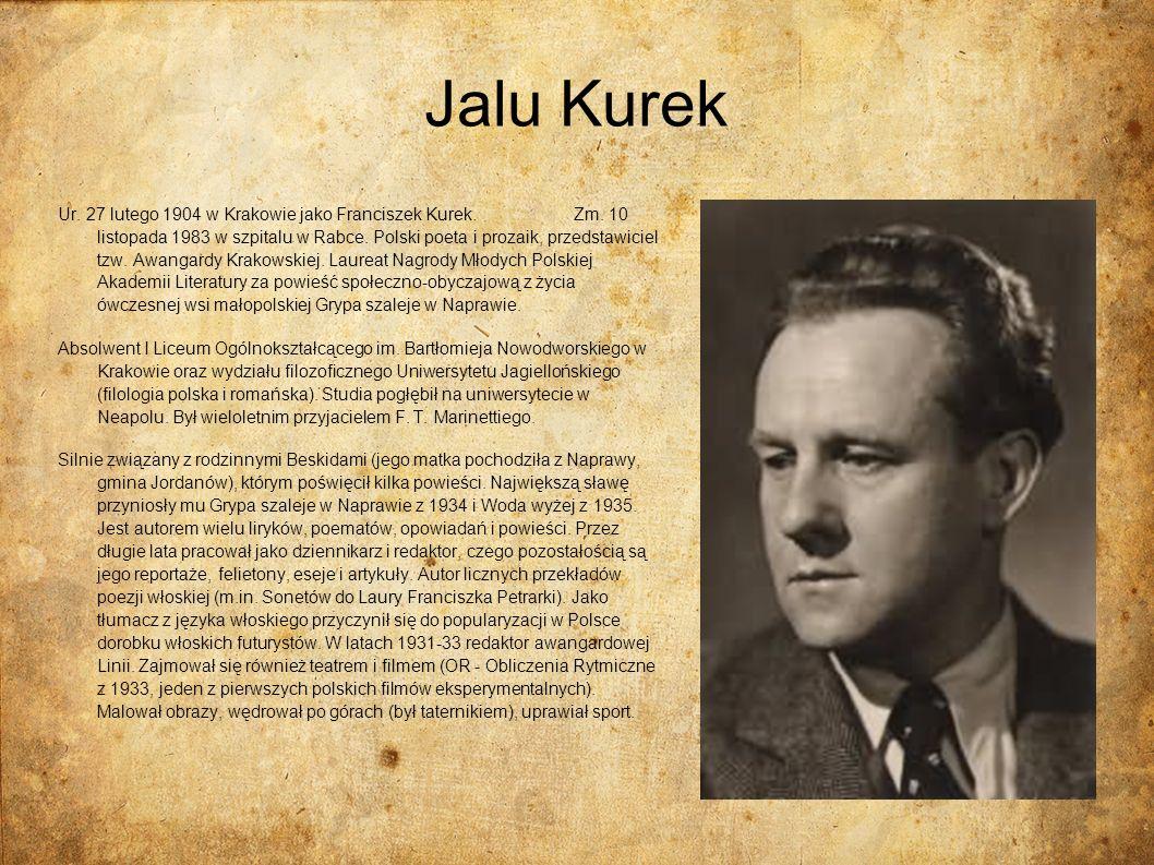 Jalu Kurek Ur. 27 lutego 1904 w Krakowie jako Franciszek Kurek. Zm. 10 listopada 1983 w szpitalu w Rabce. Polski poeta i prozaik, przedstawiciel tzw.
