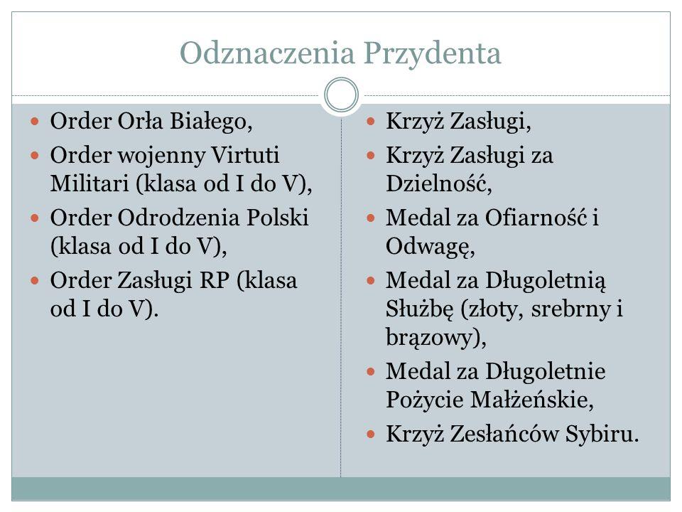 Odznaczenia Przydenta Order Orła Białego, Order wojenny Virtuti Militari (klasa od I do V), Order Odrodzenia Polski (klasa od I do V), Order Zasługi R