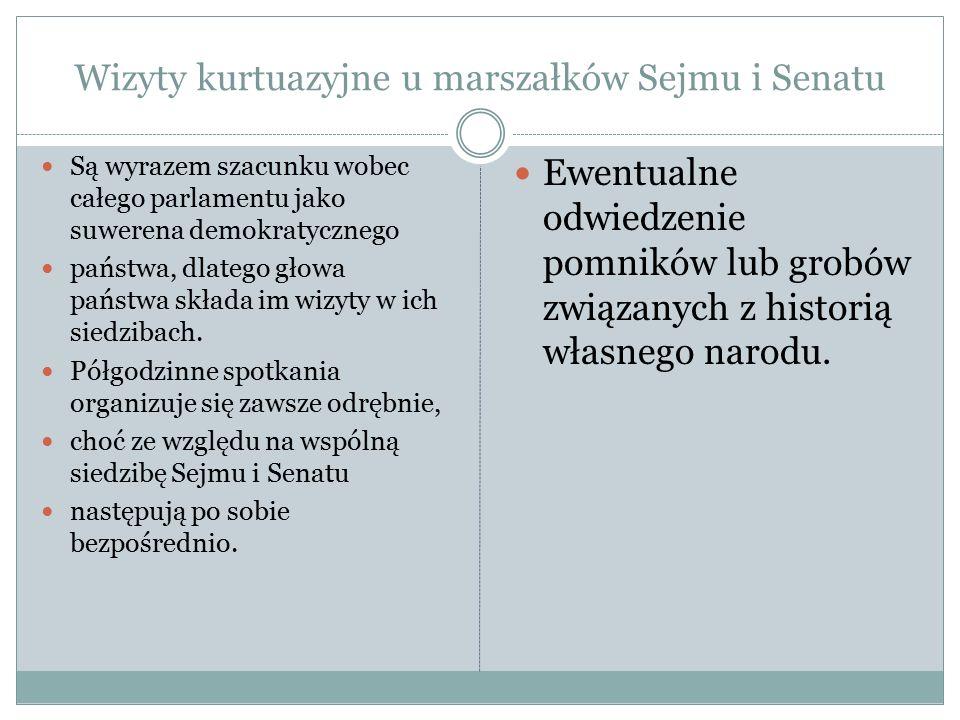Wizyty kurtuazyjne u marszałków Sejmu i Senatu Są wyrazem szacunku wobec całego parlamentu jako suwerena demokratycznego państwa, dlatego głowa państw
