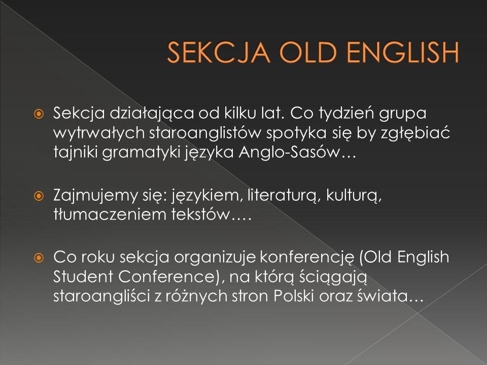  Sekcja działająca od kilku lat. Co tydzień grupa wytrwałych staroanglistów spotyka się by zgłębiać tajniki gramatyki języka Anglo-Sasów…  Zajmujemy