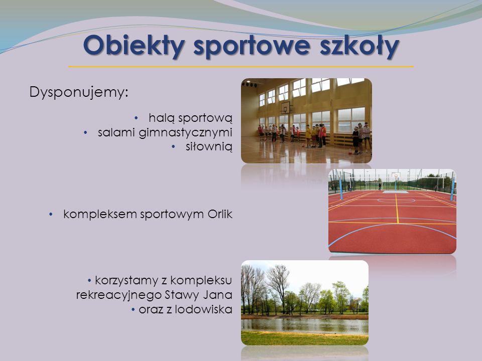 Obiekty sportowe szkoły Dysponujemy: halą sportową salami gimnastycznymi siłownią kompleksem sportowym Orlik korzystamy z kompleksu rekreacyjnego Stawy Jana oraz z lodowiska