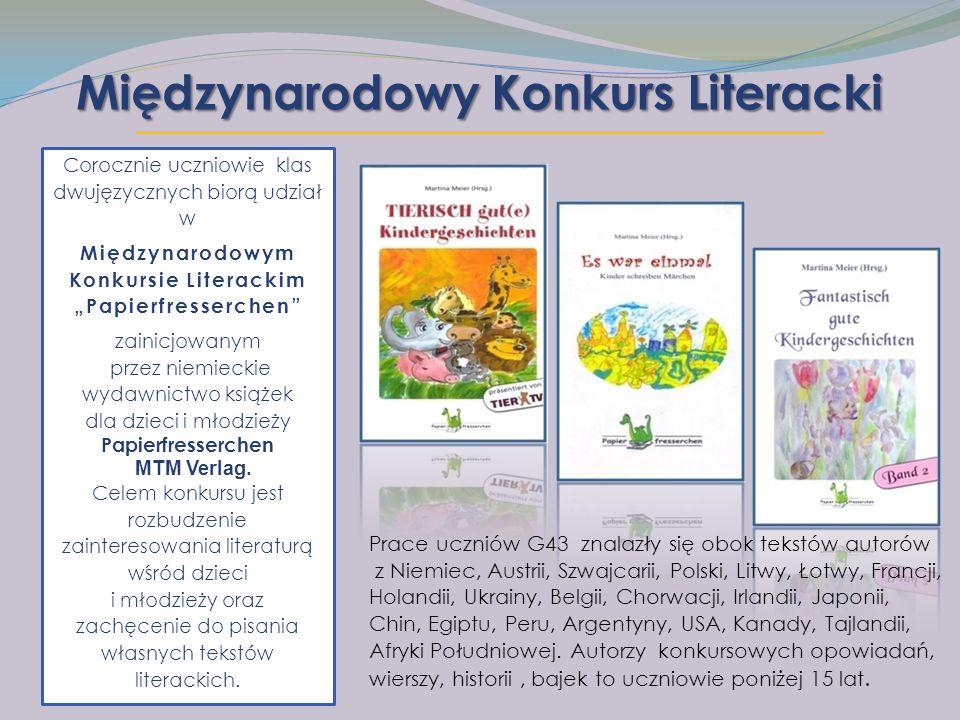 """Międzynarodowy Konkurs Literacki Corocznie uczniowie klas dwujęzycznych biorą udział w Międzynarodowym Konkursie Literackim """"Papierfresserchen zainicjowanym przez niemieckie wydawnictwo książek dla dzieci i młodzieży Papierfresserchen MTM Verlag."""