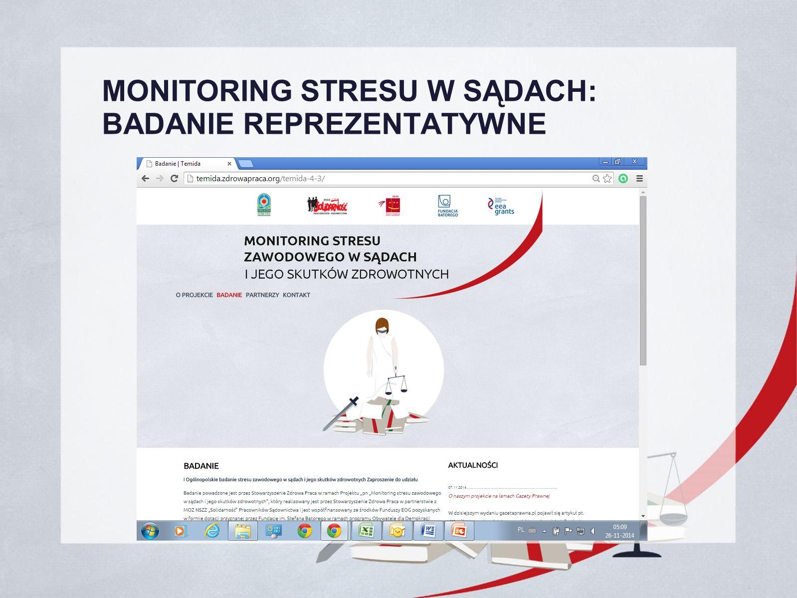 MONITORING STRESU W SĄDACH: BADANIE REPREZENTATYWNE