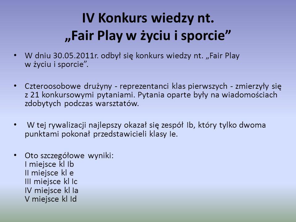"""IV Konkurs wiedzy nt. """"Fair Play w życiu i sporcie"""" W dniu 30.05.2011r. odbył się konkurs wiedzy nt. """"Fair Play w życiu i sporcie"""". Czteroosobowe druż"""