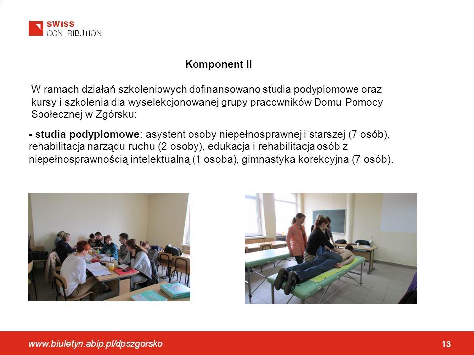 Komponent II W ramach działań szkoleniowych dofinansowano studia podyplomowe oraz kursy i szkolenia dla wyselekcjonowanej grupy pracowników Domu Pomocy Społecznej w Zgórsku: 13 - studia podyplomowe: asystent osoby niepełnosprawnej i starszej (7 osób), rehabilitacja narządu ruchu (2 osoby), edukacja i rehabilitacja osób z niepełnosprawnością intelektualną (1 osoba), gimnastyka korekcyjna (7 osób).