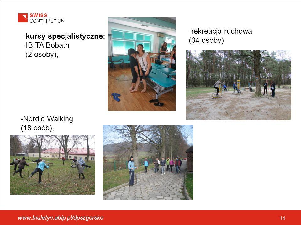 -kursy specjalistyczne: -IBITA Bobath (2 osoby), -Nordic Walking (18 osób), -rekreacja ruchowa (34 osoby) 14 www.biuletyn.abip.pl/dpszgorsko