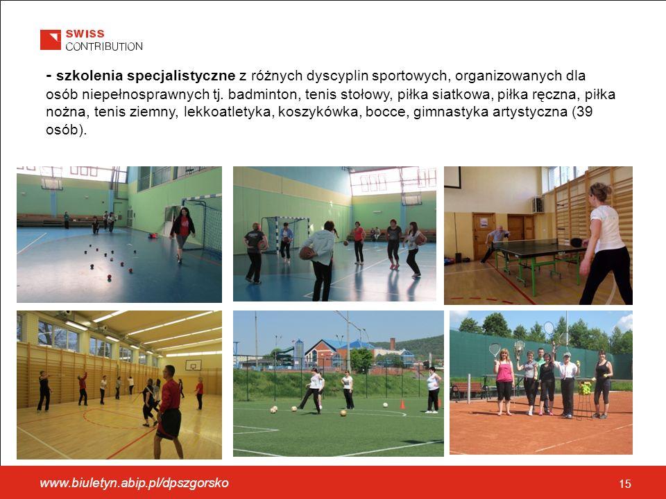 - szkolenia specjalistyczne z różnych dyscyplin sportowych, organizowanych dla osób niepełnosprawnych tj.