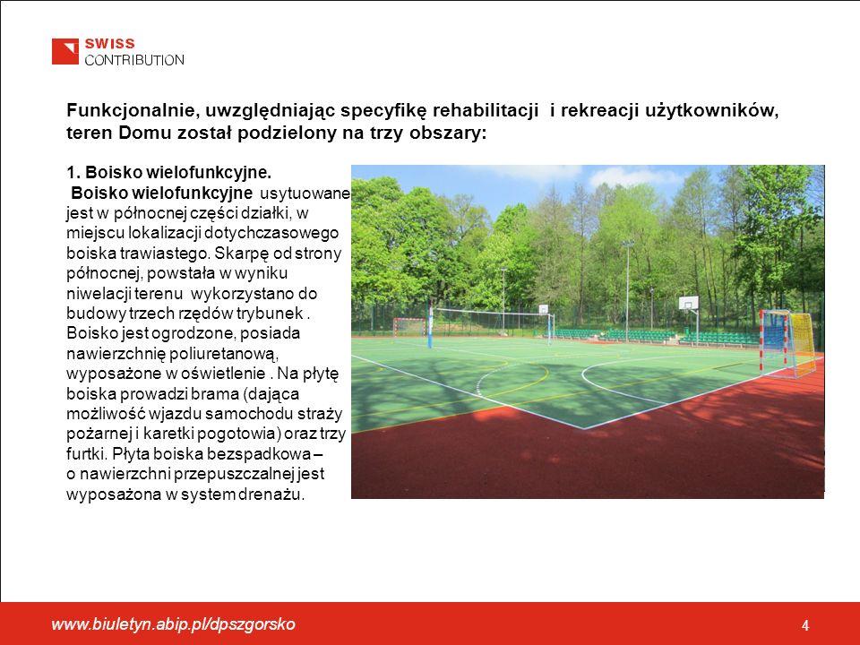 4 Funkcjonalnie, uwzględniając specyfikę rehabilitacji i rekreacji użytkowników, teren Domu został podzielony na trzy obszary: 1.