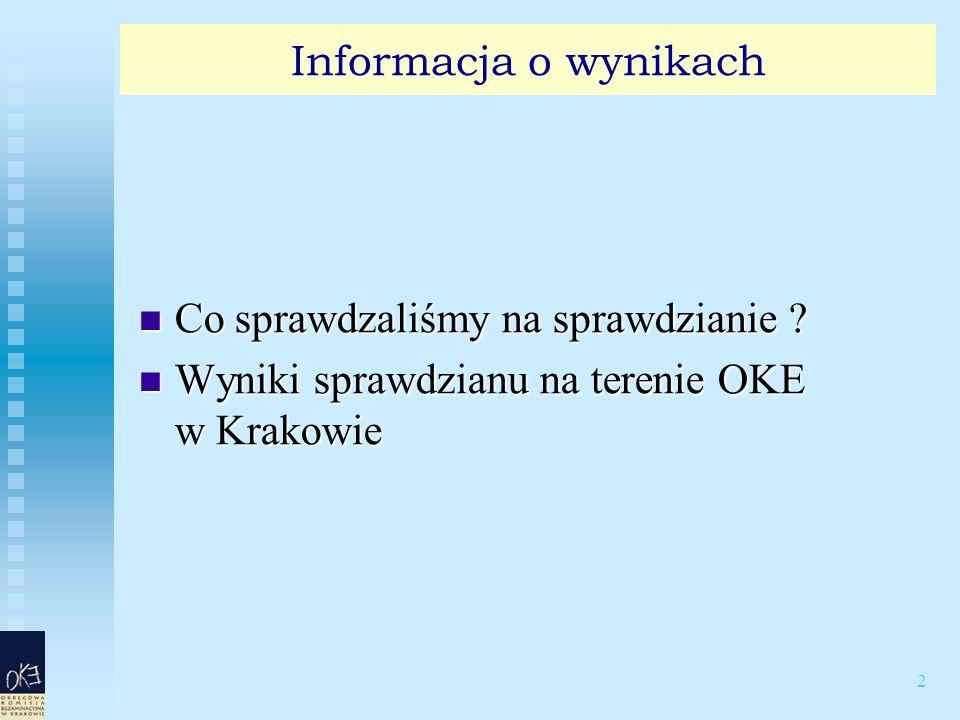 2 Informacja o wynikach Co sprawdzaliśmy na sprawdzianie ? Co sprawdzaliśmy na sprawdzianie ? Wyniki sprawdzianu na terenie OKE w Krakowie Wyniki spra