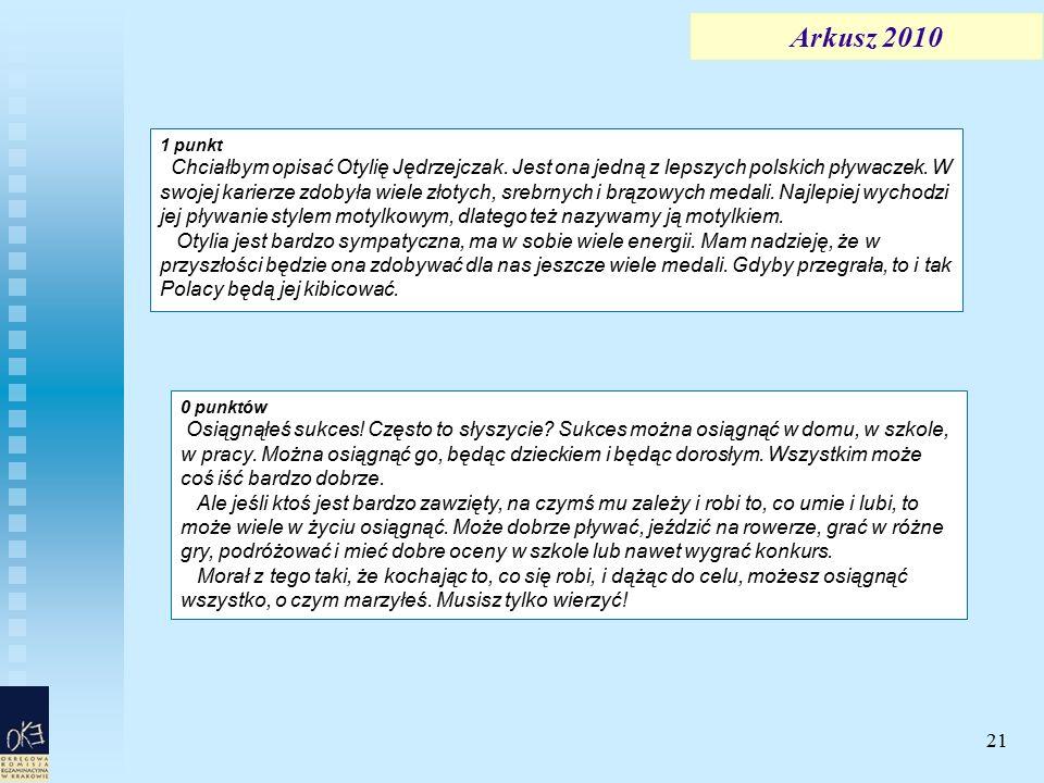 21 Arkusz 2010 1 punkt Chciałbym opisać Otylię Jędrzejczak. Jest ona jedną z lepszych polskich pływaczek. W swojej karierze zdobyła wiele złotych, sre
