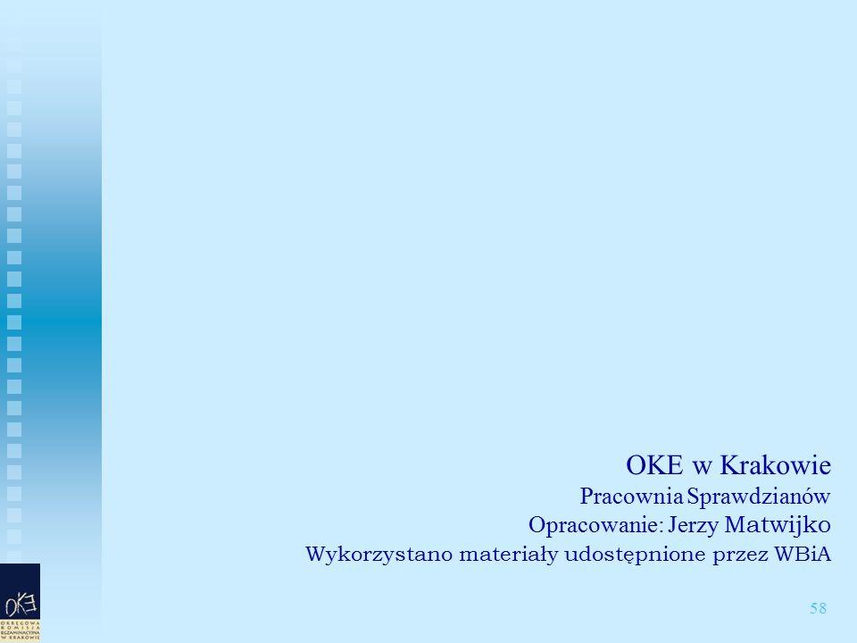 58 OKE w Krakowie Pracownia Sprawdzianów Opracowanie: Jerzy Matwijko Wykorzystano materiały udostępnione przez WBiA