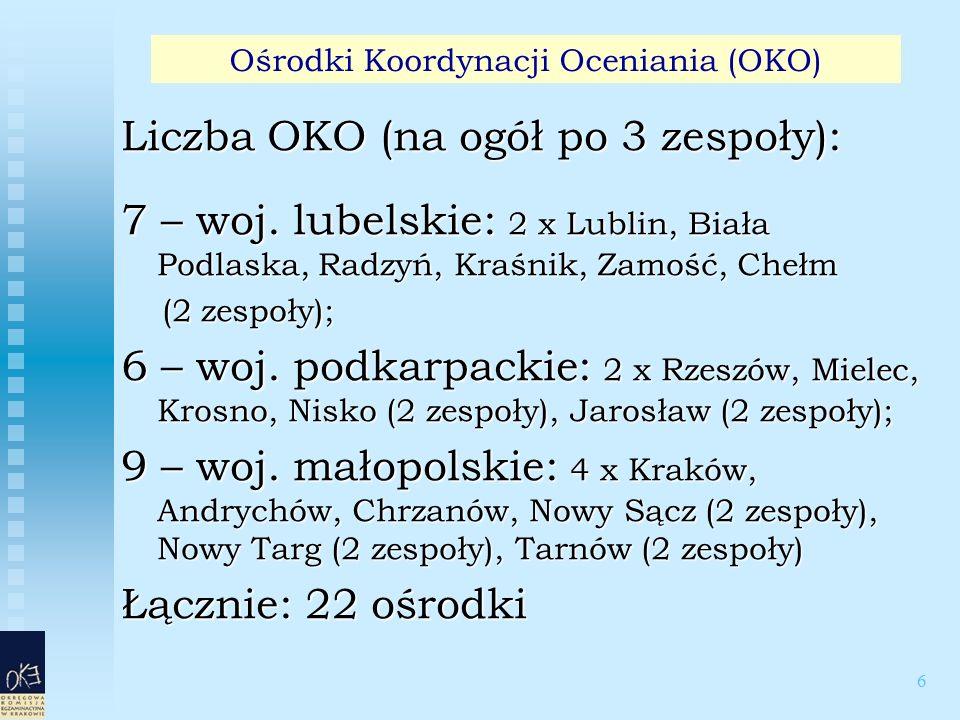 6 Liczba OKO (na ogół po 3 zespoły): 7 – woj. lubelskie: 2 x Lublin, Biała Podlaska, Radzyń, Kraśnik, Zamość, Chełm (2 zespoły); (2 zespoły); 6 – woj.