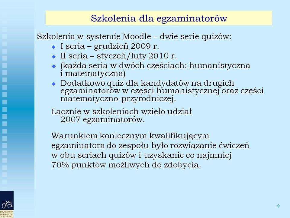 9 Szkolenia w systemie Moodle – dwie serie quizów:  I seria – grudzień 2009 r.  II seria – styczeń/luty 2010 r.  (każda seria w dwóch częściach: hu