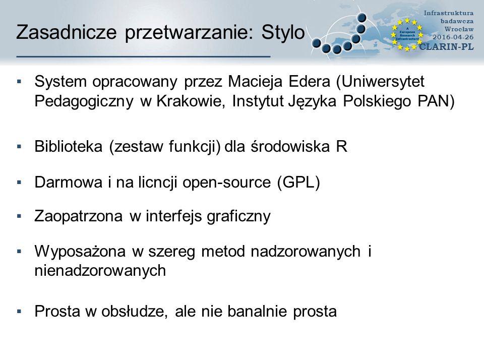 Zasadnicze przetwarzanie: Stylo ▪System opracowany przez Macieja Edera (Uniwersytet Pedagogiczny w Krakowie, Instytut Języka Polskiego PAN) ▪Biblioteka (zestaw funkcji) dla środowiska R ▪Darmowa i na licncji open-source (GPL) ▪Zaopatrzona w interfejs graficzny ▪Wyposażona w szereg metod nadzorowanych i nienadzorowanych ▪Prosta w obsłudze, ale nie banalnie prosta Infrastruktura badawcza Wrocław 2016-04-26 CLARIN-PL