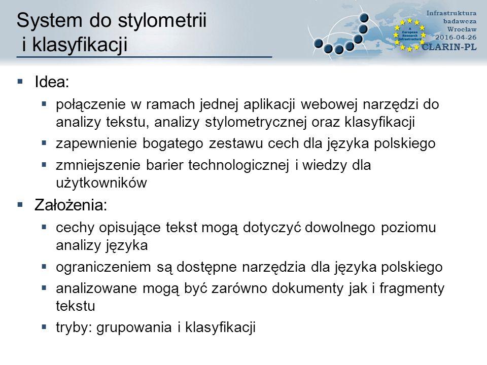System do stylometrii i klasyfikacji  Idea:  połączenie w ramach jednej aplikacji webowej narzędzi do analizy tekstu, analizy stylometrycznej oraz k
