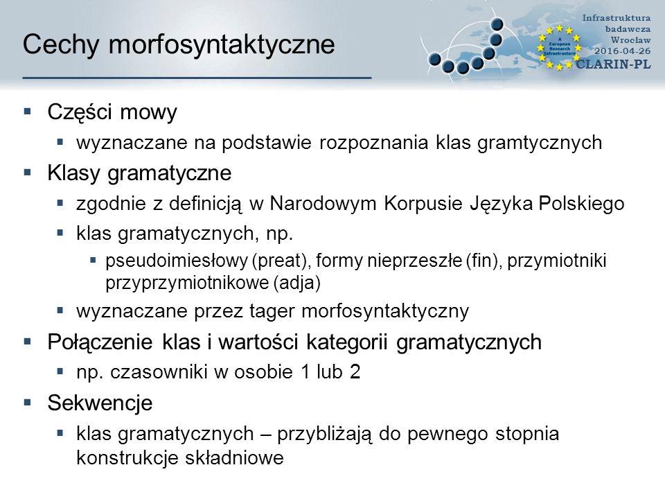 Cechy morfosyntaktyczne  Części mowy  wyznaczane na podstawie rozpoznania klas gramtycznych  Klasy gramatyczne  zgodnie z definicją w Narodowym Ko