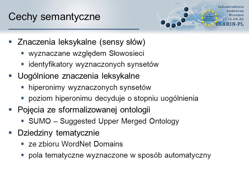 Cechy semantyczne  Znaczenia leksykalne (sensy słów)  wyznaczane względem Słowosieci  identyfikatory wyznaczonych synsetów  Uogólnione znaczenia leksykalne  hiperonimy wyznaczonych synsetów  poziom hiperonimu decyduje o stopniu uogólnienia  Pojęcia ze sformalizowanej ontologii  SUMO – Suggested Upper Merged Ontology  Dziedziny tematycznie  ze zbioru WordNet Domains  pola tematyczne wyznaczone w sposób automatyczny Infrastruktura badawcza Wrocław 2016-04-26 CLARIN-PL