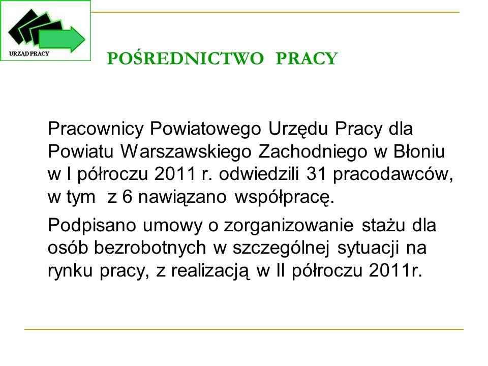 POŚREDNICTWO PRACY Pracownicy Powiatowego Urzędu Pracy dla Powiatu Warszawskiego Zachodniego w Błoniu w I półroczu 2011 r. odwiedzili 31 pracodawców,
