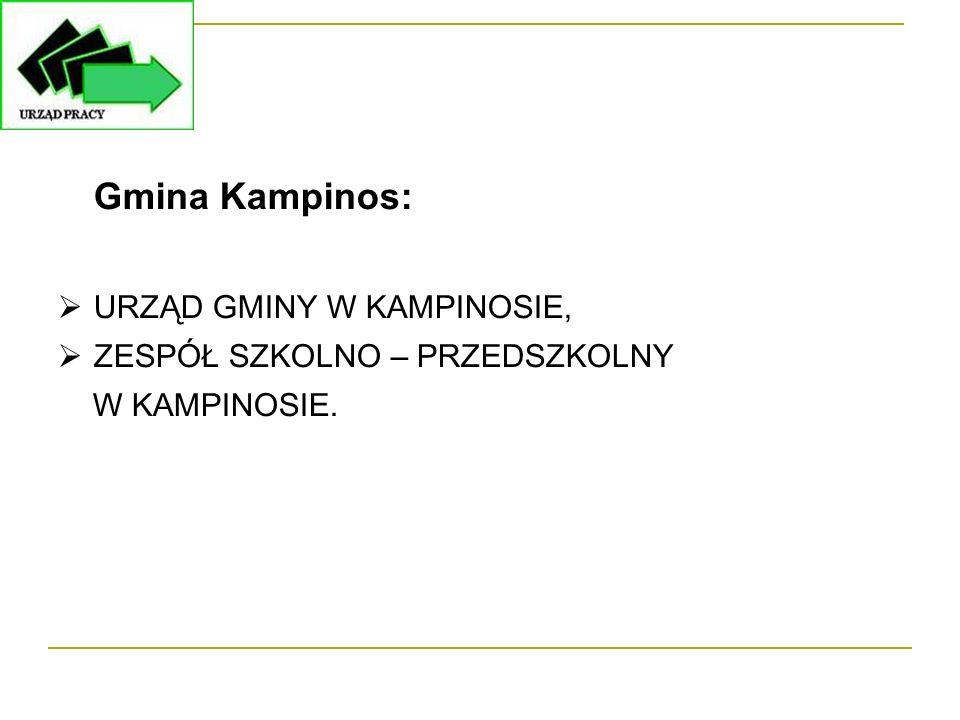 Gmina Kampinos:  URZĄD GMINY W KAMPINOSIE,  ZESPÓŁ SZKOLNO – PRZEDSZKOLNY W KAMPINOSIE.