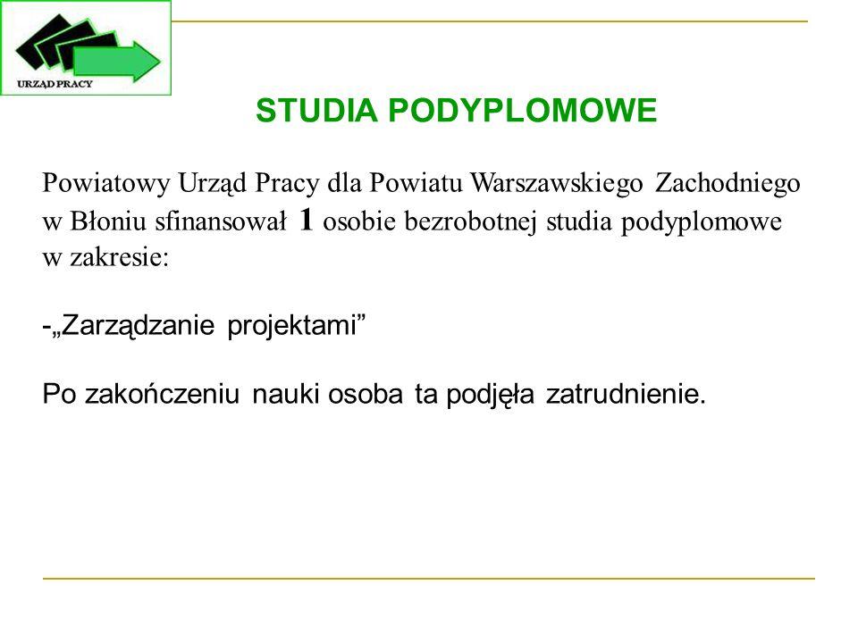 """Powiatowy Urząd Pracy dla Powiatu Warszawskiego Zachodniego w Błoniu sfinansował 1 osobie bezrobotnej studia podyplomowe w zakresie: -""""Zarządzanie pro"""