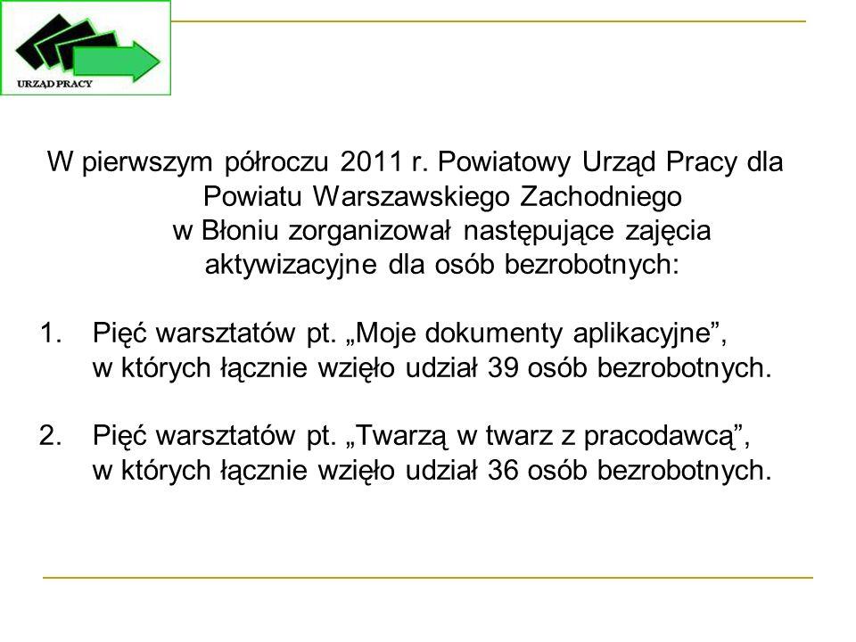 W pierwszym półroczu 2011 r. Powiatowy Urząd Pracy dla Powiatu Warszawskiego Zachodniego w Błoniu zorganizował następujące zajęcia aktywizacyjne dla o