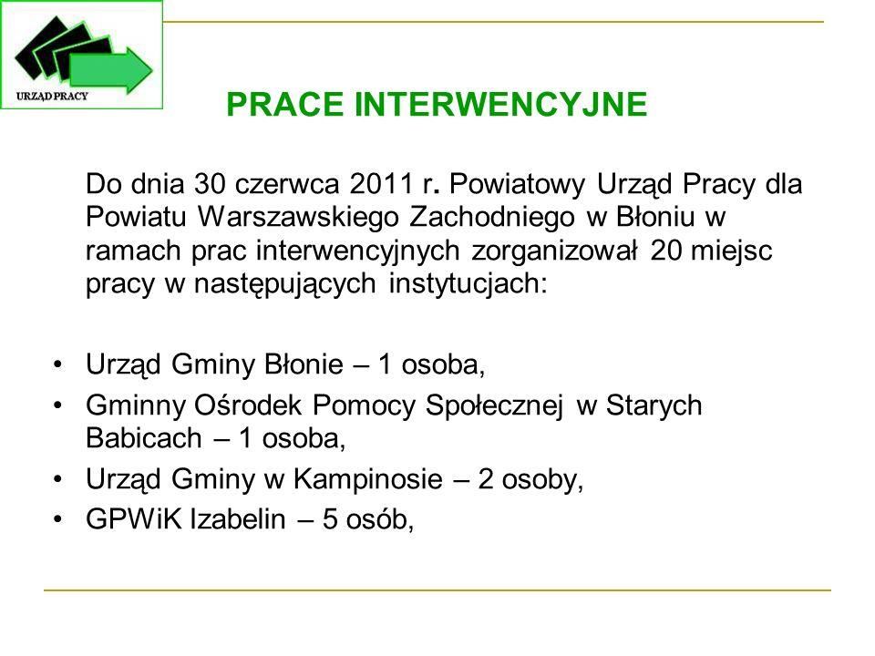 PRACE INTERWENCYJNE Do dnia 30 czerwca 2011 r. Powiatowy Urząd Pracy dla Powiatu Warszawskiego Zachodniego w Błoniu w ramach prac interwencyjnych zorg