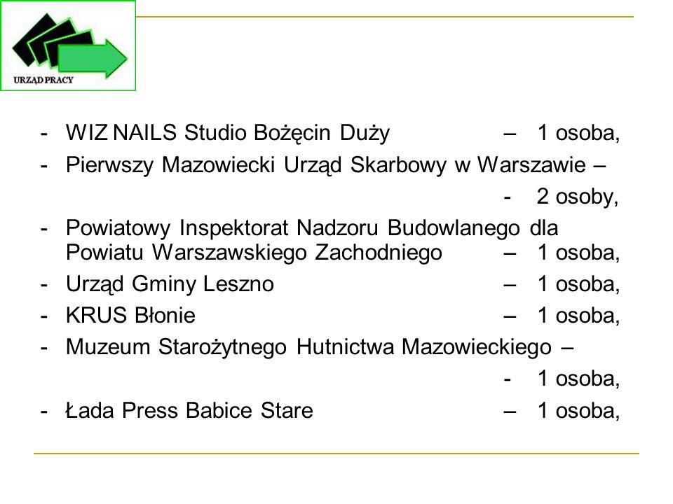-WIZ NAILS Studio Bożęcin Duży –1 osoba, -Pierwszy Mazowiecki Urząd Skarbowy w Warszawie – - 2 osoby, -Powiatowy Inspektorat Nadzoru Budowlanego dla P