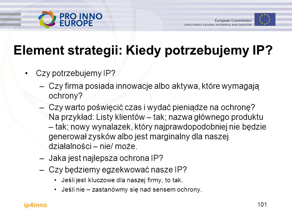 ip4inno Element strategii: Kiedy potrzebujemy IP. Czy potrzebujemy IP.