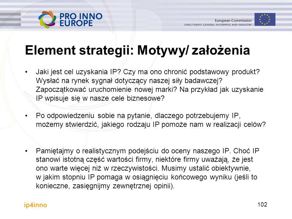 ip4inno Element strategii: Motywy/ założenia Jaki jest cel uzyskania IP? Czy ma ono chronić podstawowy produkt? Wysłać na rynek sygnał dotyczący nasze