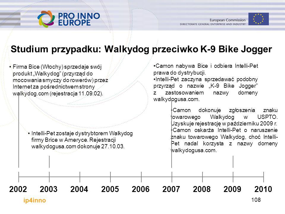 """ip4inno 108 Studium przypadku: Walkydog przeciwko K-9 Bike Jogger Firma Bice (Włochy) sprzedaje swój produkt """"Walkydog (przyrząd do mocowania smyczy do rowerów) przez Internet za pośrednictwem strony walkydog.com (rejestracja 11.09.02)."""