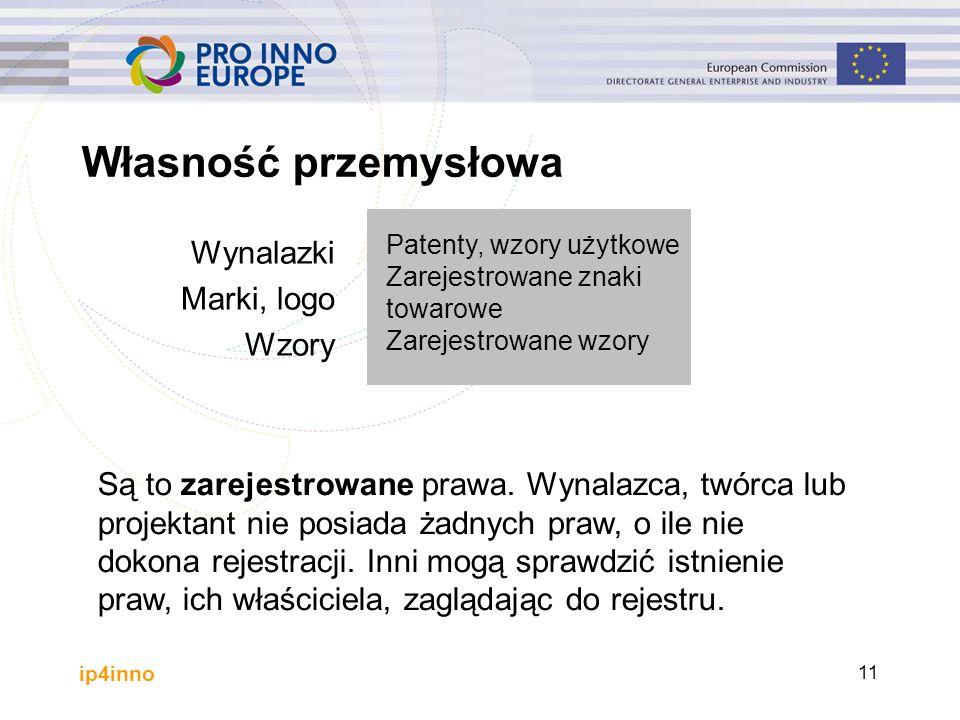 ip4inno Własność przemysłowa Wynalazki Marki, logo Wzory Patenty, wzory użytkowe Zarejestrowane znaki towarowe Zarejestrowane wzory Są to zarejestrowane prawa.