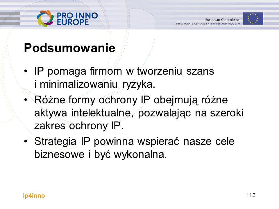 ip4inno 112 Podsumowanie IP pomaga firmom w tworzeniu szans i minimalizowaniu ryzyka. Różne formy ochrony IP obejmują różne aktywa intelektualne, pozw