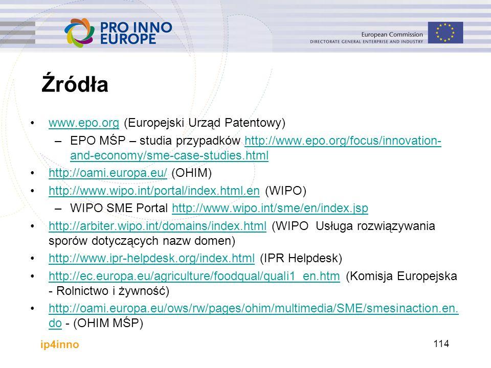 ip4inno 114 Źródła www.epo.org (Europejski Urząd Patentowy)www.epo.org –EPO MŚP – studia przypadków http://www.epo.org/focus/innovation- and-economy/sme-case-studies.htmlhttp://www.epo.org/focus/innovation- and-economy/sme-case-studies.html http://oami.europa.eu/ (OHIM)http://oami.europa.eu/ http://www.wipo.int/portal/index.html.en (WIPO)http://www.wipo.int/portal/index.html.en –WIPO SME Portal http://www.wipo.int/sme/en/index.jsphttp://www.wipo.int/sme/en/index.jsp http://arbiter.wipo.int/domains/index.html (WIPO Usługa rozwiązywania sporów dotyczących nazw domen)http://arbiter.wipo.int/domains/index.html http://www.ipr-helpdesk.org/index.html (IPR Helpdesk)http://www.ipr-helpdesk.org/index.html http://ec.europa.eu/agriculture/foodqual/quali1_en.htm (Komisja Europejska - Rolnictwo i żywność)http://ec.europa.eu/agriculture/foodqual/quali1_en.htm http://oami.europa.eu/ows/rw/pages/ohim/multimedia/SME/smesinaction.en.