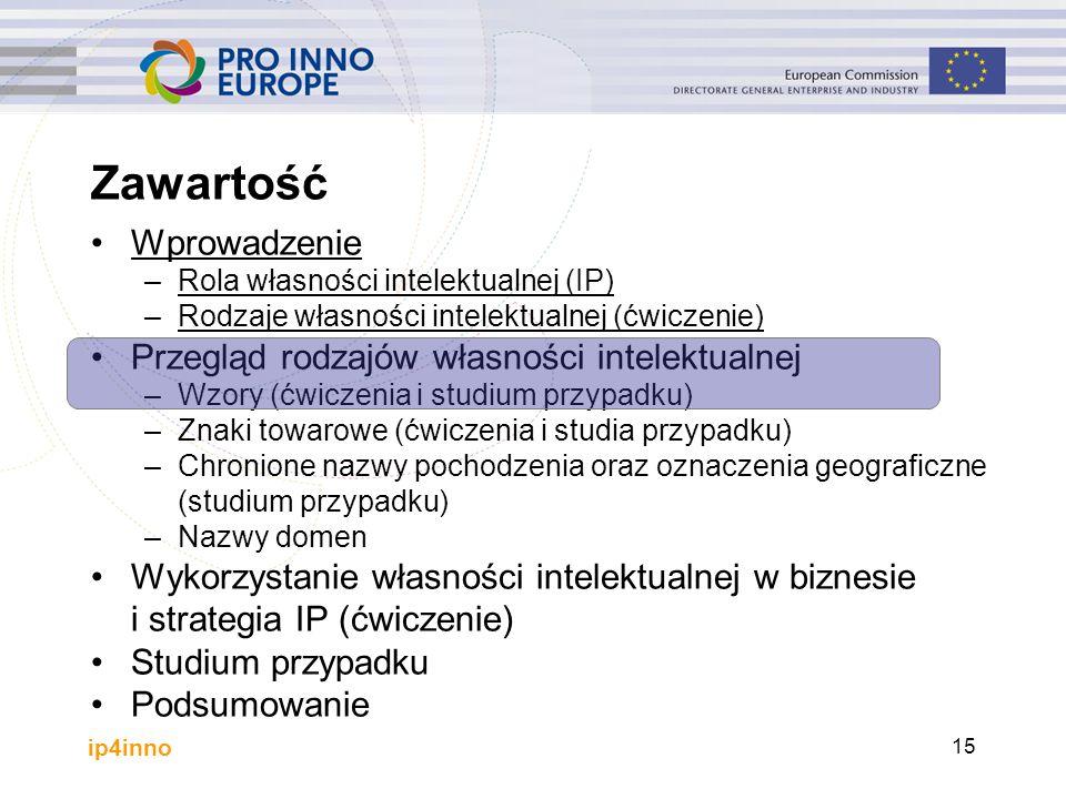 ip4inno 15 Wprowadzenie –Rola własności intelektualnej (IP) –Rodzaje własności intelektualnej (ćwiczenie) Przegląd rodzajów własności intelektualnej –