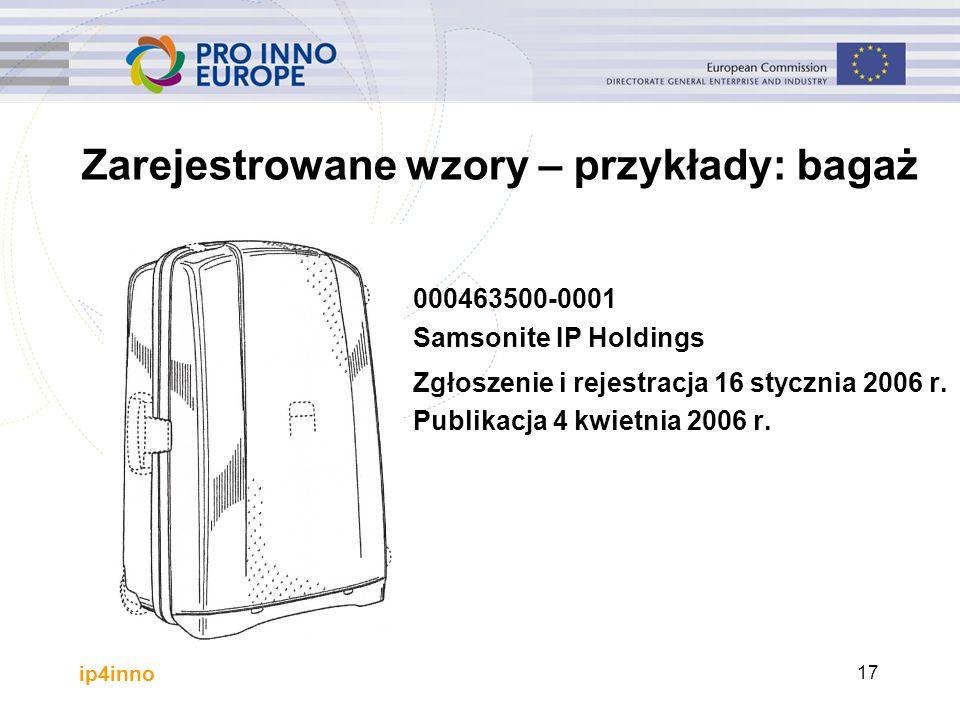 ip4inno 17 000463500-0001 Samsonite IP Holdings Zgłoszenie i rejestracja 16 stycznia 2006 r. Publikacja 4 kwietnia 2006 r. Zarejestrowane wzory – przy