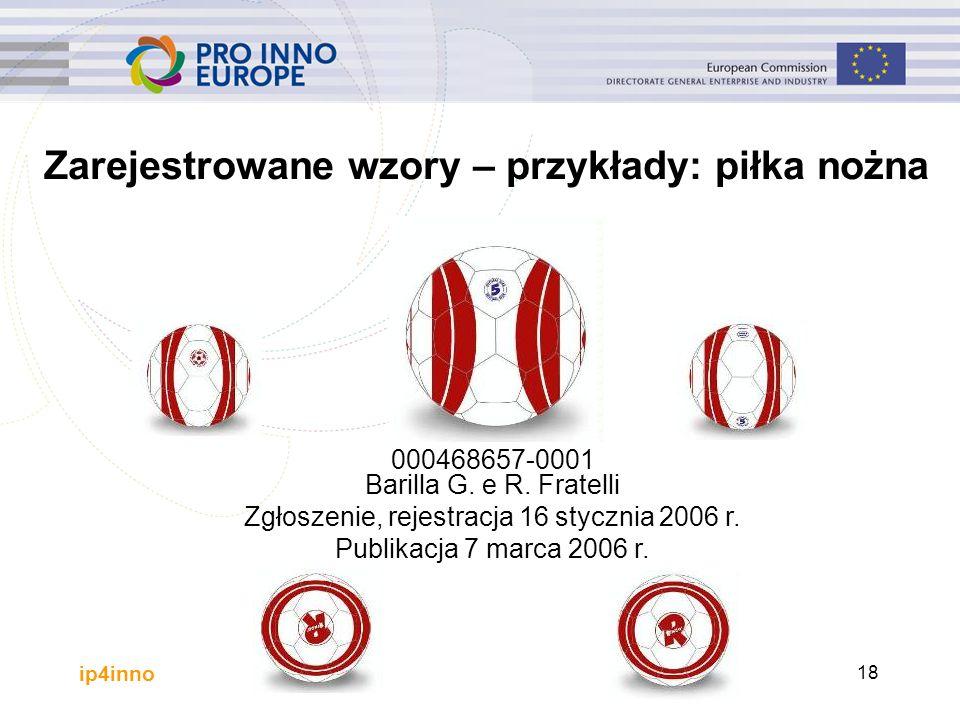 ip4inno 000468657-0001 Barilla G. e R. Fratelli Zgłoszenie, rejestracja 16 stycznia 2006 r.