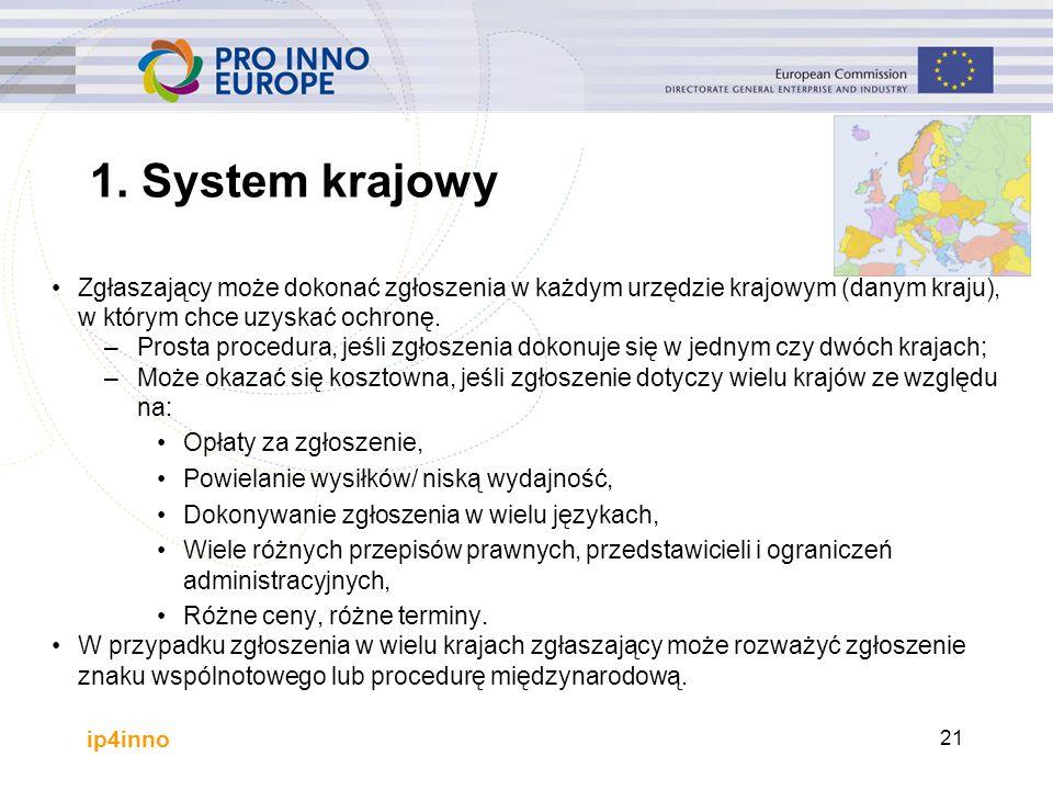 ip4inno 21 Zgłaszający może dokonać zgłoszenia w każdym urzędzie krajowym (danym kraju), w którym chce uzyskać ochronę. –Prosta procedura, jeśli zgłos