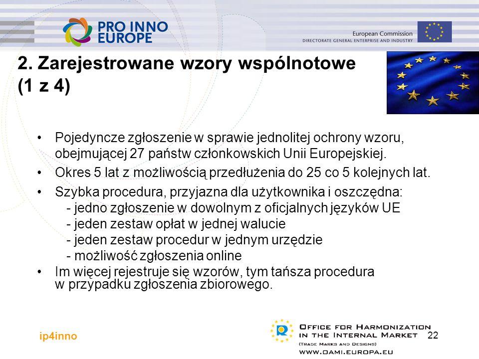 ip4inno 22 Pojedyncze zgłoszenie w sprawie jednolitej ochrony wzoru, obejmującej 27 państw członkowskich Unii Europejskiej. Okres 5 lat z możliwością