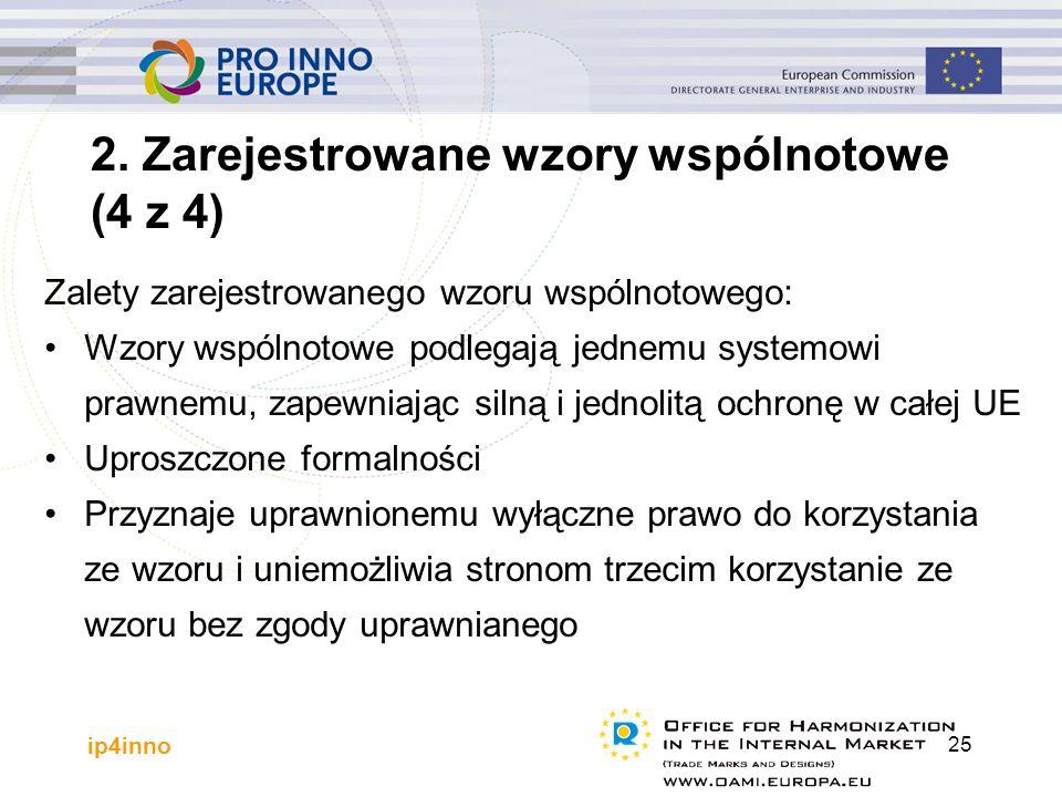 ip4inno 25 Zalety zarejestrowanego wzoru wspólnotowego: Wzory wspólnotowe podlegają jednemu systemowi prawnemu, zapewniając silną i jednolitą ochronę w całej UE Uproszczone formalności Przyznaje uprawnionemu wyłączne prawo do korzystania ze wzoru i uniemożliwia stronom trzecim korzystanie ze wzoru bez zgody uprawnianego 2.